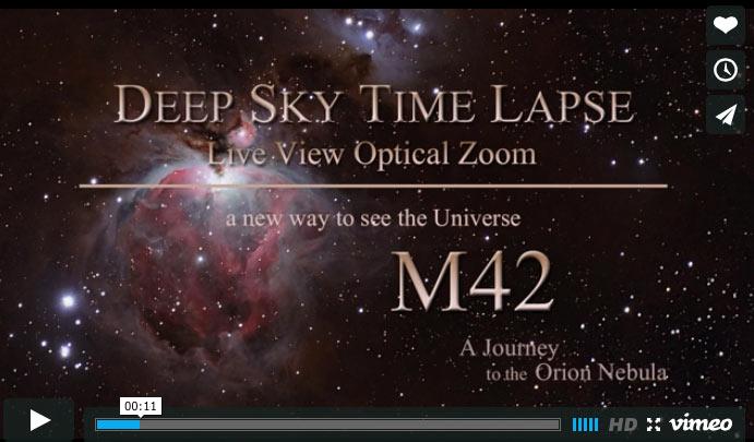 vidéo en time lapse de la nébuleuse d'orion