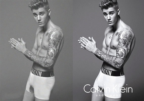 Justin Bieber, photoshop, Calvin Klein, photo retouchée